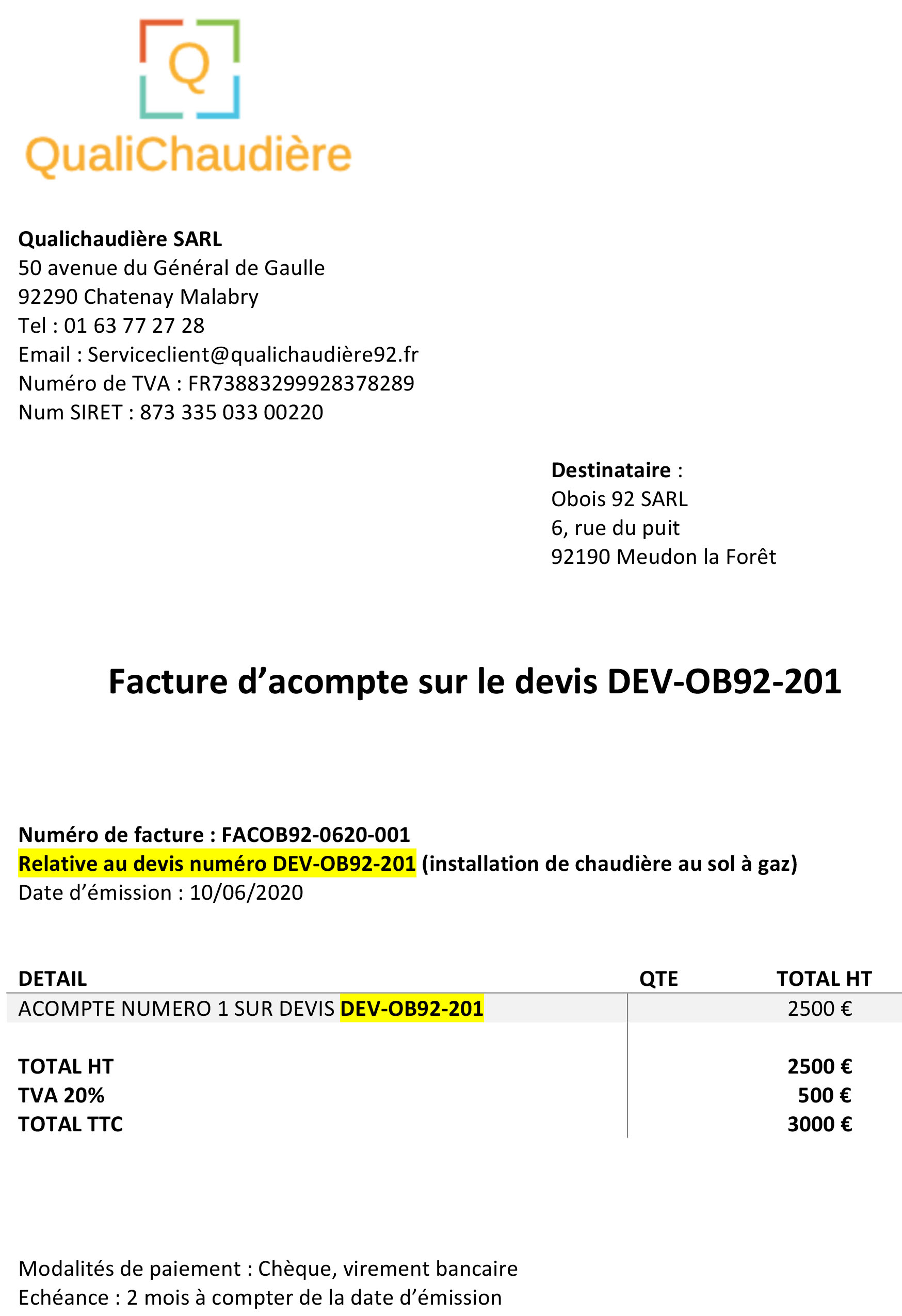 Factures D Acompte Modele A Telecharger Exemple Et Reglementation Probatiment